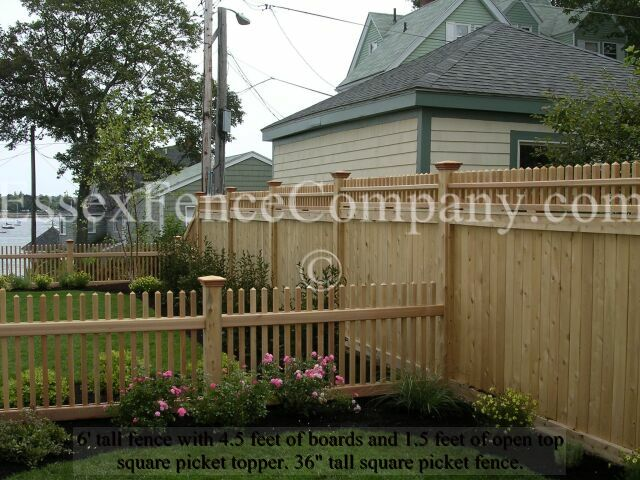 Board and square picket top fences essex fence company for Picket fence cost estimator